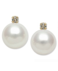 Belle De Mer 14K Gold Earrings Cultured Freshwater Pearl 7Mm And Diamond Accent Stud Earrings