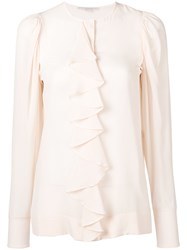 Stella Mccartney Ruffle Front Blouse Nude Neutrals