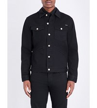 Tom Ford Buttoned Cuff Branded Denim Jacket Black