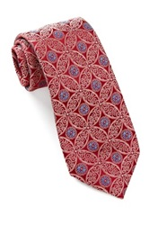 Alara Silk Tonal Florette Medallion Tie Red