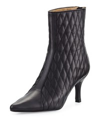 Neiman Marcus Zinky Leather Quilted Bootie Black