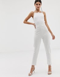 Girl In Mind Lace Top Square Neck Jumpsuit White