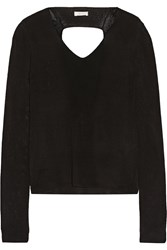 A.L.C. Ty Cutout Ribbed Cotton Sweater Black