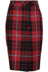 Each X Other Button Detailed Checked Wool Pencil Skirt Brick