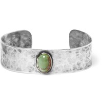Foundwell Vintage 1970S Hammered Silver Turquoise Cuff Blue
