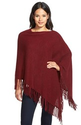 Women's White Warren Two Way Fringe Cashmere Poncho Red Chianti Heather