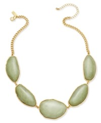 Inc International Concepts Gold Tone Green Stone Collar Necklace Only At Macy's