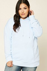 Forever 21 Plus Size Distressed Hoodie Light Blue