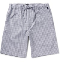 Hanro Checked Cotton Boxer Shorts Gray