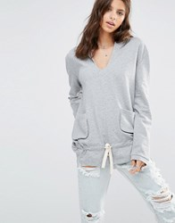 One Teaspoon Palais De Lounge Hooded Sweatshirt Grey Marl