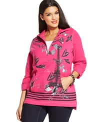 Style And Co. Plus Size Layered Look Graphic Hoodie Pink Pinata
