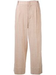 Isabel Marant Cropped Flared Trousers Women Silk Cotton Linen Flax Viscose 36 Nude Neutrals