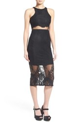 Missguided Lace Two Piece Midi Dress Black