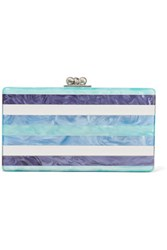 Edie Parker Jean Striped Acrylic Box Clutch Turquoise