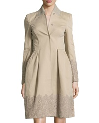 Philosophy Di Alberta Ferretti Lace Trimmed Long Jacket Tan
