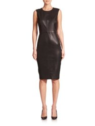 Saks Fifth Avenue Sleeveless Leather Sheath Dress Black