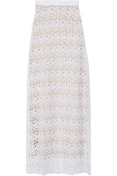 Miguelina Mirabelle Cotton Guipure Lace Maxi Skirt White