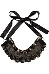 Marni Crystal Chainmail And Felt Necklace Black