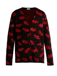 Saint Laurent Lip Jacquard Sequin Embellished Cardigan Black Red