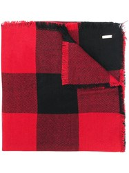 Woolrich Chunky Check Print Scarf Red