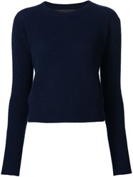 The Elder Statesman Rice Stitch Cropped Jumper Blue