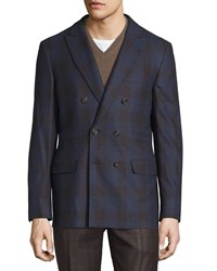 Brunello Cucinelli Plaid Double Breasted Jacket Blue Brown Red