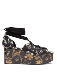 Erdem Wren Vanguard Midnight Print Platform Wedges Navy Multi