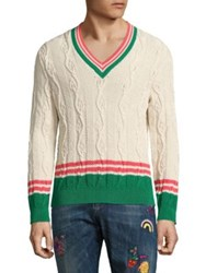 Paul Smith Striped Cable Knit Sweater White