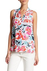 Vince Camuto Printed Pleated V Neck Hi Lo Tank Petite Red