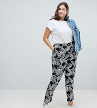 New Look Curve Palm Print Jogger Black