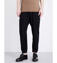Isabel Benenato Coulisse Wool Blend Trousers Black