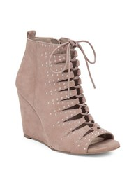 Jessica Simpson Barlett Suede Caged Wedge Booties Taupe