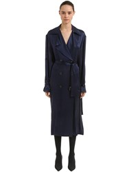 Magda Butrym Double Breasted Silk Satin Trench Coat Navy