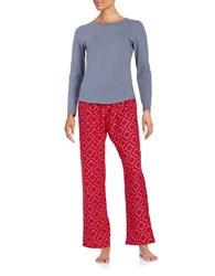 Calvin Klein Long Sleeve Tee And Pajama Pants Set Grey Red Diamond