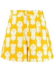 La Doublej Good Butt Pineapple Print Shorts Yellow