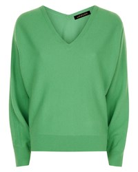 Jaeger Wool Cashmere V Neck Sweater Green