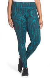 Plus Size Women's Zella 'Live In' Slim Fit Reversible Leggings Teal Everglade Geo Woodsy