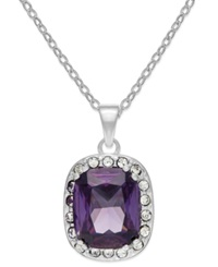City By City Silver Tone Purple Stone And Pave Crystal Pendant Necklace