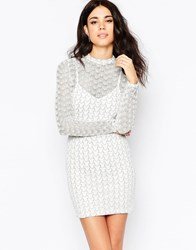 Oh My Love Long Sleeve Bodycon Dress In Zigzag Glitter Fabric Zig Zag White