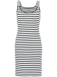 Marc Cain Striped Fitted Dress White