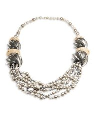 Alexis Bittar Lucite Crystal Encrusted Sculptural Multi Strand Pearl Necklace Ash