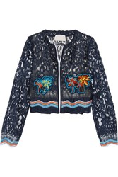 Peter Pilotto Cropped Crochet Trimmed Embroidered Lace Jacket Navy