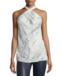 Ramy Brook Printed Silk Halter Top Faded Croc