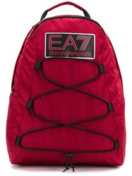 Emporio Armani Ea7 Logo Patch Backpack Red