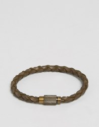 Polo Ralph Lauren Leather Plaited Bracelet Brown