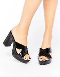 New Look Patent Cross Strap Mule Black