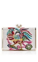 Judith Leiber Couture Tall Slender Rooster Clutch White