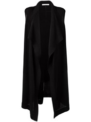 Givenchy Waterfall Hem Sleeveless Cardigan Black