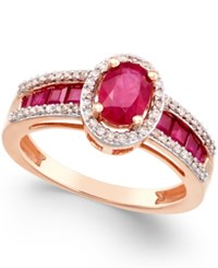 Macy's Ruby 1 3 4 Ct. T.W. And Diamond 1 4 Ct. T.W. Statement Ring In 14K Rose Gold