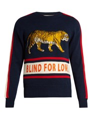 Gucci Walking Tiger Applique Wool Sweater Navy